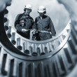 Engineers and gear machinery — Stock Photo #8558247