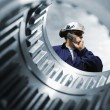 Engineer and machinery interior — Stock Photo