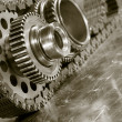 Stock Photo: Gear wheels and timing chain