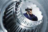 Engineer and machinery interior — Stock Photo