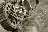 Gear wheels and timing chain — Stock Photo