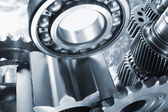 Inside of giant titanium gear — Stock Photo