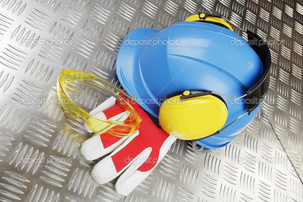Hardhat, helmet, protective gloves glasses and earmuffs  Stock Photo #8703424