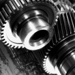 Giant gears and timing chain - Stock Photo