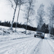 Car, suv, driving in snowy winter — Stok fotoğraf