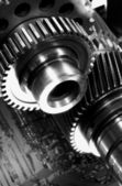 Giant gears and timing chain — Stock Photo