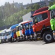 Stock Photo: Truck convoy standing on line