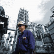 Refinery workers, oil and gas industry — Stock Photo