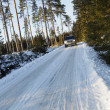 Suv, car, driving on snowy country road — Stock Photo #8935960