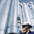 Industry worker and gas pipes - Stock Photo
