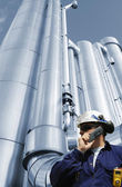 Industry worker and gas pipes — Stock Photo