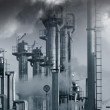 Oil and gas industry under heavy clouds — Stock Photo