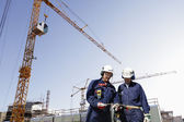 Contruction workers, cranes and machinery — Stockfoto