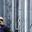 Refinery worker, oil and gas industry — Stock Photo