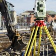 Geodesy measuring inside building site — Stok fotoğraf