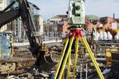 Geodesie meten binnen de bouwplaats — Stockfoto