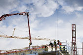 Workers on construction site — Stock Photo
