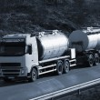 Fuel-truck, tanker on the move — Stock Photo