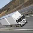Large white trucking transport — Stock Photo