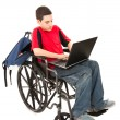 Student in Wheelchair With Laptop - Stok fotoğraf