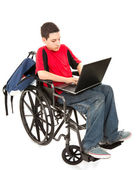 Student in Wheelchair With Laptop — Stock Photo