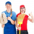 Stock Photo of Enthusiastic Teen Workers - Thumbs Up — Stock Photo