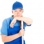 Stock Photo of Bored Teenage Worker — Stock Photo