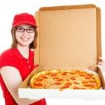 Stock Photo of Pretty Pizza Delivery Girl — Stock Photo