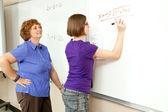 Stock Photo of Student and Teacher at Blackboard — Stock Photo