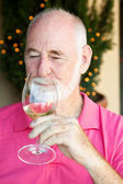 Stock Photo of Wine Tasting - Senior Man — Stock Photo