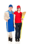 Stock Photo of Serious Teenage Workers — Stock Photo