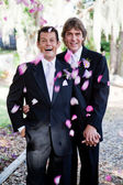 Gay Marriage - Showers of Petals — Stock Photo