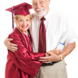 Elderly Graduate with Proud Husband — Stock Photo