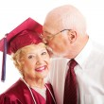 Senior Couple - Kiss for the Graduate — Stock Photo #10721498
