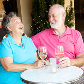 Senior Couple on Date - Laughing — Stock Photo