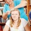 Fixing Daughter's Hair — Stock Photo