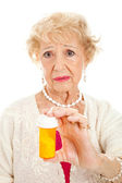 Sad Senior Woman with Pills — Stock Photo