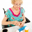 Disabled Woman Takes Medicine — Stock Photo