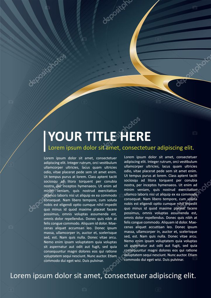 Dark Vector Brochure and Poster Background with gold elements — Stock Vector #8862694