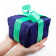 Gift pack in the women's hand on a white background. — Stock Photo #10140601