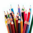 Close up of color pencils with different color over white backgr — Stock Photo #10416536
