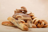 Fresh bread isolated on a light brown background. — Foto Stock