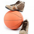 The new sports shoes with the ball on a white background. — Stock Photo