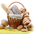 Stock Photo: Fresh bread in the basket fully isolated.