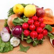 Healthy food. Fresh vegetables and fruits on a white background. — Stock Photo