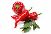 Alimentos sanos. verduras frescas. pimientos sobre un fondo blanco. — Foto de Stock