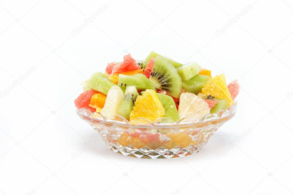 Fresh fruits salad on white background — Stock Photo #10654891