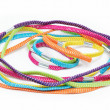 Colorful hair elastic bands on white background — Stock Photo