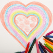 Stock Photo: Heart drawn with crayons.