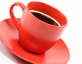Cup morning coffee on saucer — Stock Photo